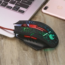 Wired Gaming Mouse USB Optical Mouse Adjustable 5500DPI 6 Buttons Colorful LED Backlit Computer Mouse PC Mice for LOL Laptop(China)