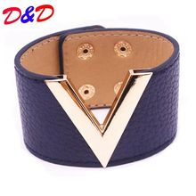 Europe And The Big Leather Bracelet Simple All-Match MS OL V Word Wide Leather Bracelet 2017 New Hand Jewelry(China)