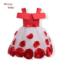 New Year Girls Dress Flower Princess Girls Dresses 2018 Party Wedding Toddler Ball Gown Infant Chiffon Children Clothing(China)