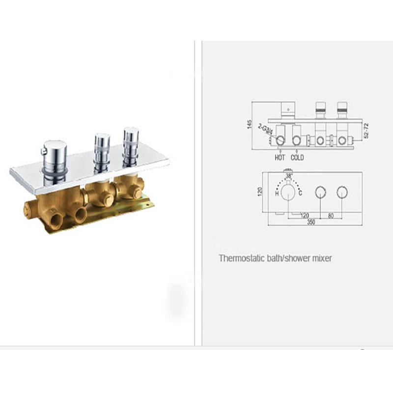 JMKWS 2 Functional Thermostatic Bath Shower Mixer Brass Chrome Controller Water Mixer Valve High Flow Bathroom Shower Switch 3
