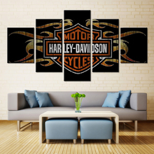 5 Panel Halley Motorcycle Modular Picture Wall Art Picture Home Decor Living Room Canvas Print Wall Picture Printing On Canvas(China)