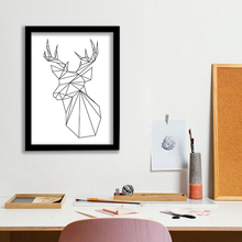P6 Elk head line canvas art print poster decorative wall picture house ornaments Frame not include