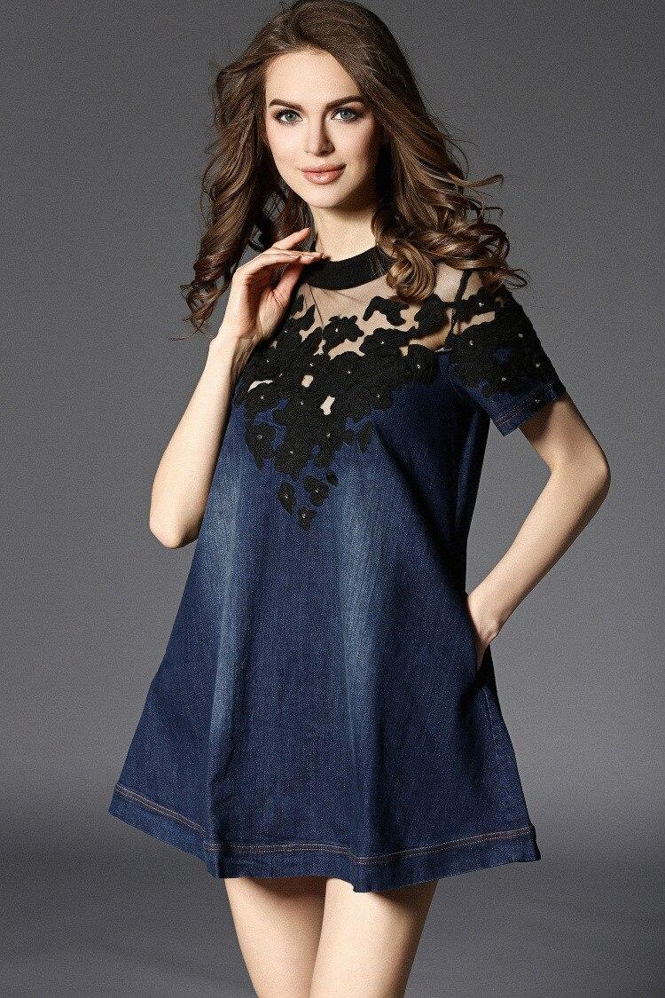 17 Summer Casual Dress Fashion Denim Jeans Dresses Vestidos Cotton Messh Embroidery patchwork Plus Size S-4XL Women Clothing 5