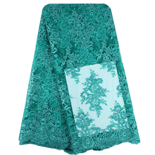 Bestway 2017 Latest Teal French African Lace Fabric High Quality African Embroidered Tulle Lace Fabric For Wedding FL0015