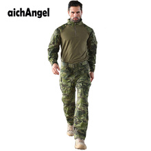 Army Military Uniform Camouflage Tactical Combat Suit Men Airsoft War Game Clothing Shirt + Pants Elbow Knee Pads()
