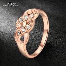 Double Fair Cubic Zirconia Infinity Rings Rose Gold Color Fashion Spacial Wedding/Engagement Ring Jewelry For Women Gift DFR334