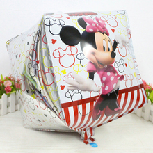 10pc Kids Birthday Party Supplies Cube Mickey Minnie Mouse Brand 6 Side Foil Balloon Home Decoration Foil Balloon Baloes Gifts(China)