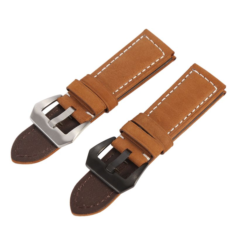Hot Thick Khaki Yellow Italy Leather Watch Band Strap Black And Silver Buckle 22 24 26mm<br><br>Aliexpress