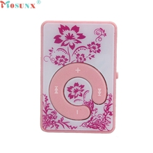 Mosunx Factory Price  Mini Clip Flower Pattern MP3 Player Music Media Support Micro SD TF Card 60427X13 Drop Shipping