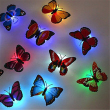 Colorful LED butterfly suction cup Battery Operated night lights New Year Christmas Indoor Wedding party flower gift decoration(China)