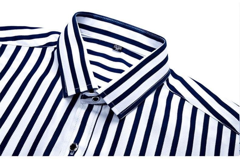 2018 New Men's Striped Male Shirts Cotton Men Shirt Mens Clothing Chemise Social casual Slim fit Dress Homme Shirts men K036 10