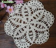20CM Cotton placemat cup drink coaster mug holder dining kitchen handmade table place mat cloth lace Crochet felt doily tea pad