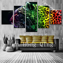 good sales 5 pieces wild leopard high definition canvas Painting print on Canvas wall art craft cafe bar pub for living room(China)