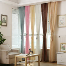 White Linen Tulle Sheer Curtain for Kitchen/Hotel Solid Color Purple Blue Beige Pink Brown(China)