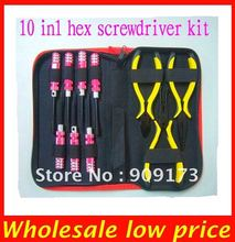 Hot Sale ! Hex Screw driver kit Tools set 10 in 1 screwdriver For 450 500 Rc Helicopter Aircraft cars boats + Low shipping(China)