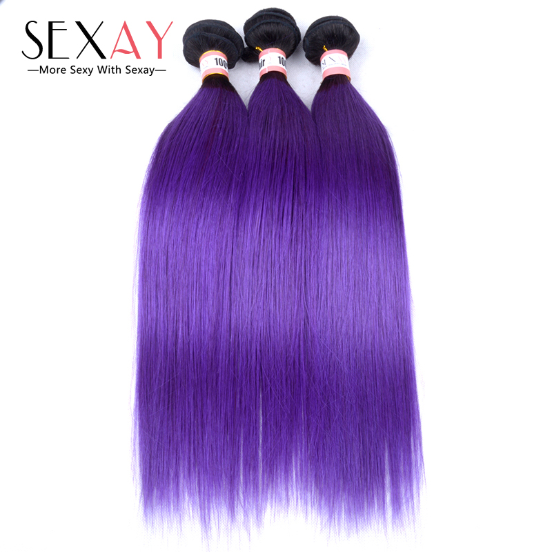 8A Grade 1B/Purple Ombre Human Hair Extensions 4 Bundles Peruvian Straight Two Tone 1B/Purple Ombre Hair Weave 100g Dark Roots<br><br>Aliexpress