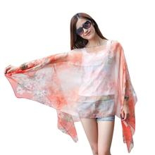 Women Chiffon Sunscreen Scarf High Quality Brand Big Size Printed Silk Scarf *10(China)