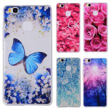 Phone Cases sFor Huawei Ascend P9 Lite Flowers Rose Plants Butterfly Pattern Clear Soft TPU Back Cover for Huawei P 9 Lite 5.2""