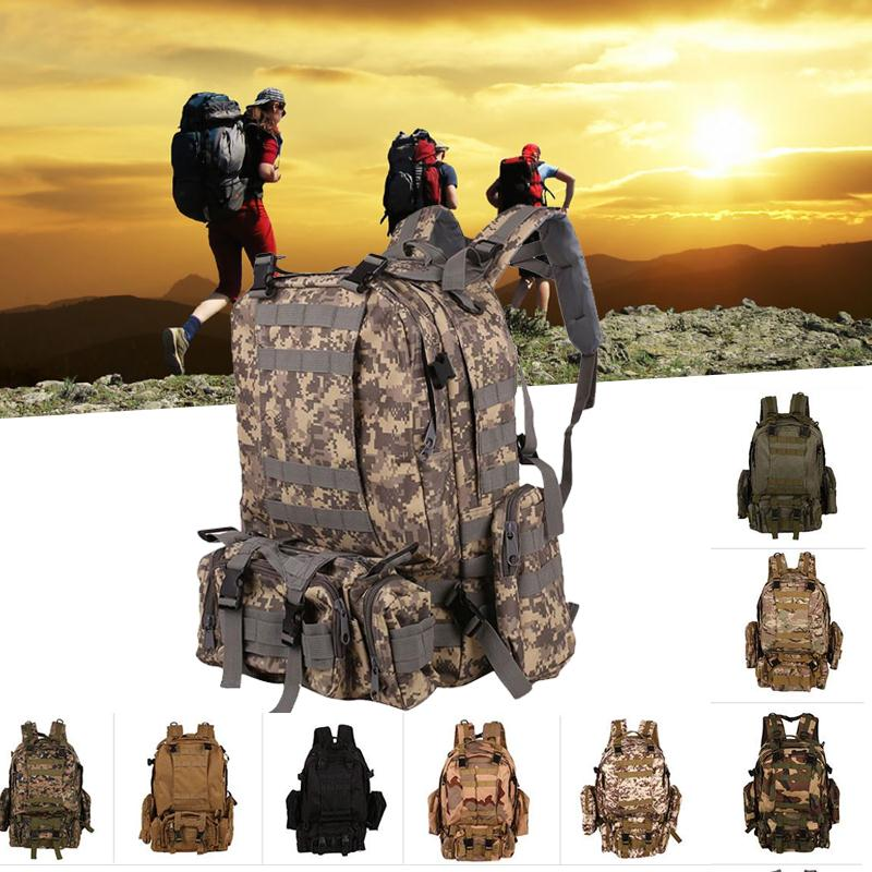55L Unisex Outdoor Backpack Vintage Military Tactical Backpacks Hiking Camping Camouflage Backpack Climbing Bags<br>