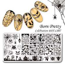 BORN PRETTY Rectangle Nail Art Stamping Template Ghost Halloween Bat Pumpkin Image Plate Celebration BPX-L007 12*6cm