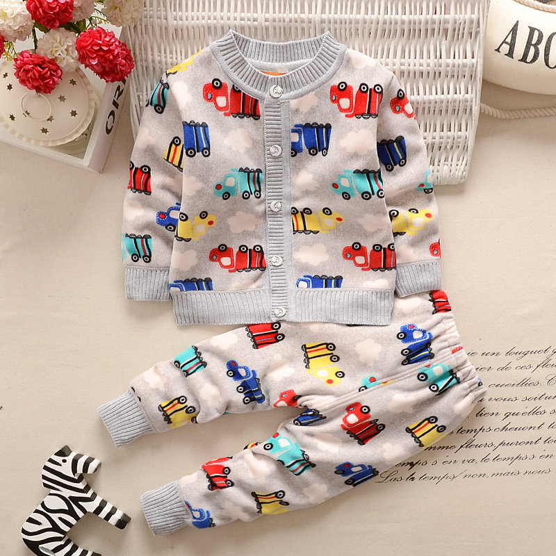 Autumn Winter Baby Girls Boys Clothing Sets Cartoon Flower Warm Clothes Set Cardigan Coat + Pants Sets V30<br>