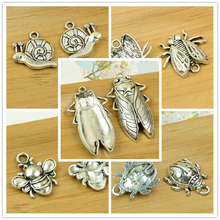 bee/ladybug/snail/fly/cicada insect alloy animal pendant antique silver charms jewelry DIY accessories fingdings free shipping(China)