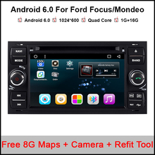 Quad Core 2 Din 1024*600 Android 6.0.1 Car DVD Player For Ford Focus Fiesta Fusion Connect GPS Navigation+Autoradio+Audio Stereo(China)