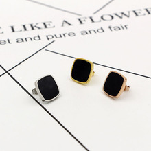 Korean Side Curve Square Black Piece Ear Woman Fashion All-match Titanium Earrings Civil Air Defense Allergy Earring Product(China)