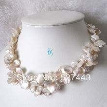 Wholesale free shipping >>Natural 2Row 9-15mm White Reborn Keshi Pearl Necklace Fashion Jewelry