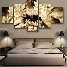 5 Panels canvas prints GOKU AND VEGETA canvas painting poster home decor wall art framed artwork