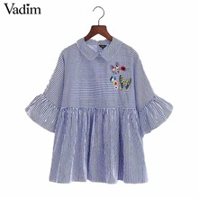 women flower butterfly embroidery striped tops butterfly sleeve loose pleated peter pan collar shirts blue back buttons DT863(China)