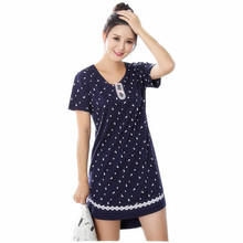 2017 New Cotton Nightgown Women Sweet Girl Lounge Cute Nightdress Sleepwear Short Sleeve Casual Nightwear Gray Sleepshirts Shirt(China)