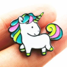 Timlee X147 Cartoon Cute Rainbow Horse Unicorn Design Metal Brooch Pins Wholesale