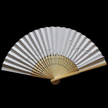 Free Shipping  Classic White Paper Wedding Chinese Fan with Bamboo Handle/Summer Wedding Favor/Wedding Gift/Garden Supplies