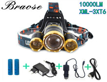 10000 Lumen CREE XM-L 3XT6 LED Adjust Focus Headlamp Headlight Caming Hunting HeadLight Lamp 4 Modes+2* Battery+ AC/Car Charger