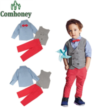 Gentlemen Wedding Suits for Baby Boys Casual Blazer Bowtie Vest+Long Sleeve Tie Shirt +Pants Kids Tuxedo Children Party Clothing