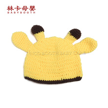 Deer Pattern Toddler Baby Crochet Hat Newborn Photography Props Handmade Soft Knit Newborn Hat(China)