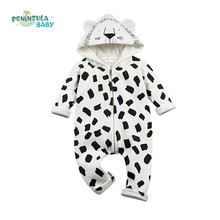 High Quality Baby Rompers Winter Babys Boys Outerwear Girls Warm Clothes Kids Jumpsuit Cartoon Lion Designer Clothes Hoodies