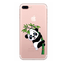 Painted Lovely pandas Design Cases Cover For iPhone 5 SE 6 6s 6Plus 6s Plus 7 7Plus TPU silicone Back Covers Cell Phone Coque(China)