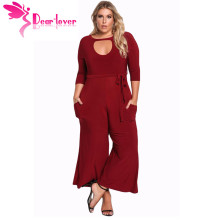 Dear Lover Long Pants Autumn 3/4 Sleeve Rompers Womens Plus Size Cut Out Wide Legged Jumpsuit Big Ladies Office Clothes LC64344(China)