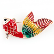 Gold-Color Fish Brooch Cheap Christmas Brooches For Women Wedding Bouquets Collar Clip Scarf Buckle Hijab Pins