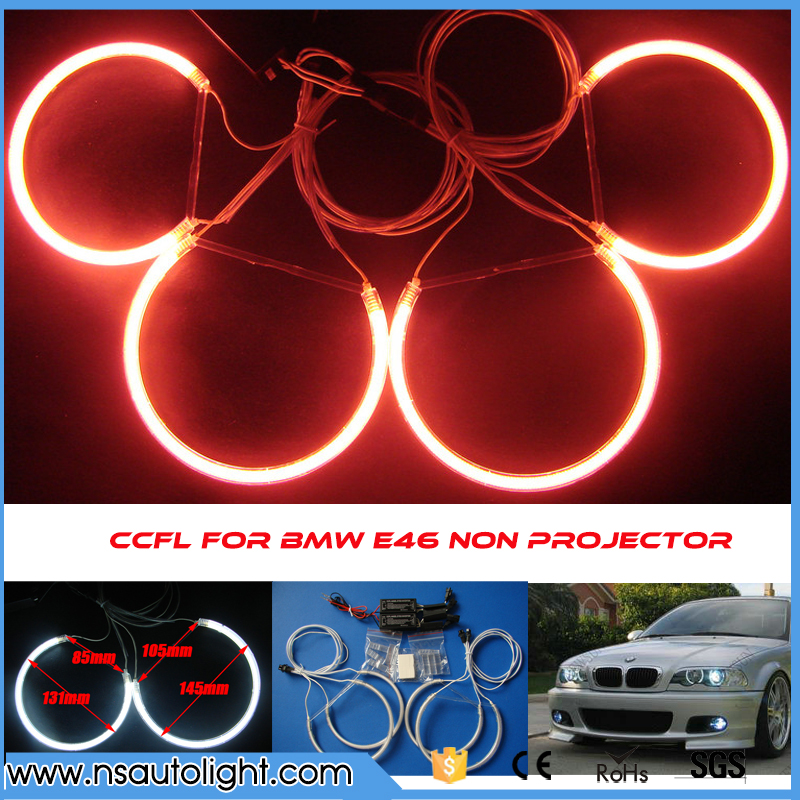 Ultra brightness CCFL angel eyes for BMW e46 non projector 131mm &amp; 145mm ccfl angel eye lighting e46 ccfl angel eye marker<br>