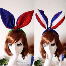 NEW 2017 Women Girls American Flag Shining Bunny Ear Headband Head Hoop Band Headwear Party Costume Props Party Favors