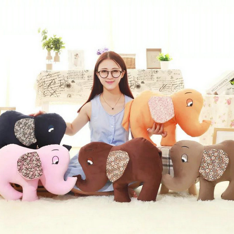45cm Ctue coloured Elephant Plush Toys Pink/gray/coffee Cloth Doll Stuffed Plush PP Cotton Elephant Pillow Cushion Kids Toys<br><br>Aliexpress
