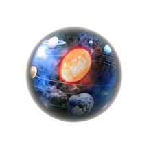 80mm 3D Solar System Decorative Glass Paperweights Crystal Half Sphere Ball Collection  Feng Shui Souvenir Home Decoration