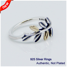 925 Sterling Silver Jewelry Leaves Rings with 14K Gold Plated Free Shipping