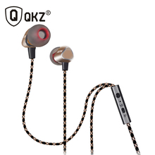 QKZ X36M Enthusiast Bass Ear Headphones Copper Forging 7MM Shocking Antinoise Earphone With Microphone Sound Quality Gold plated(China)