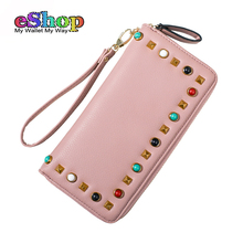 New Fashion Women Wallets High Quality Colorful Rivet Long Woman Purse Zipper Large Capacity Clutch Wristlet Designer Wallet(China)