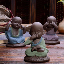 The young monk tea pet Color pet  boutique purple sand tea accessories exquisite furnishing articles handmade by hand