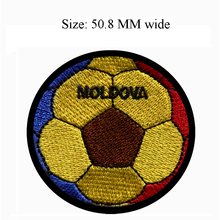 50.8MM wide MOLDOVA flag patch of soccer ball football shipping to iron on/sew on/art work(China)
